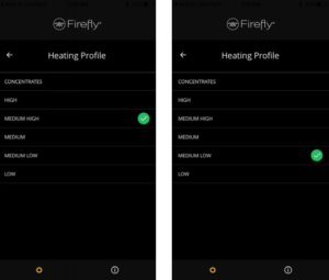 Firefly 2 Vaporizer Heating Settings